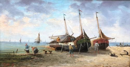 19th century - Seaside - Pierre-Julien GILBERT  (1783-1860)