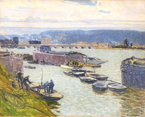 Boats in Sèvres - Ferdinand Lantoine (1876-1956) - Paintings & Drawings Style