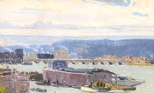 Paintings & Drawings  - Boats in Sèvres - Ferdinand Lantoine (1876-1956)