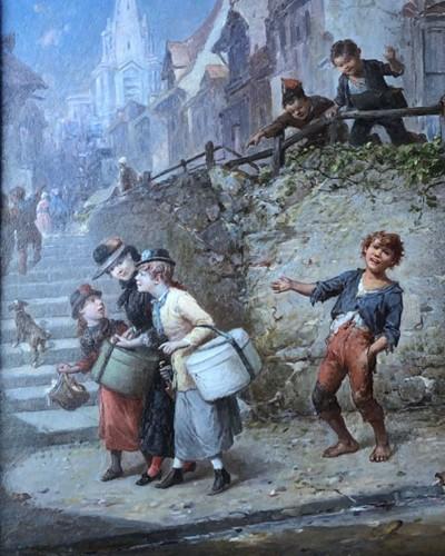 Children having fun - François Louis LANFANT dit LANFANT de Metz (1814-1892)