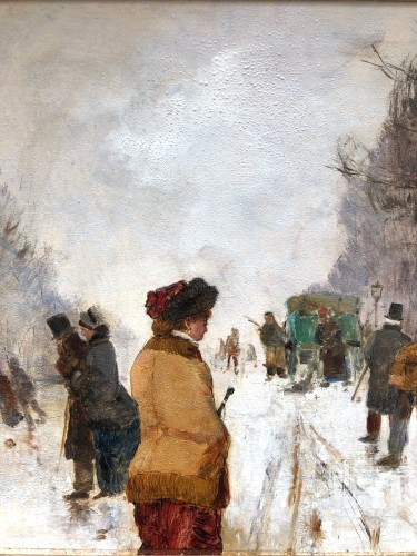 Paris, under the snow - Etienne Maxime VALLEE (1853-1881) - Paintings & Drawings Style