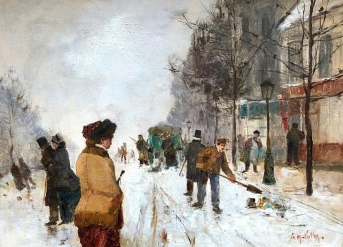 Paris, under the snow - Etienne Maxime VALLEE (1853-1881) -