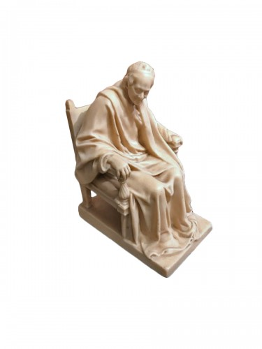19th century  Wax sculpture of Voltaire seated