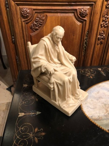 19th century  Wax sculpture of Voltaire seated -