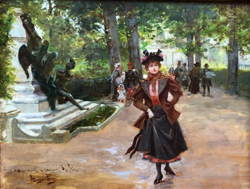 Parisienne in the park - Mariano ALONSO-PEREZ (1857-1930)