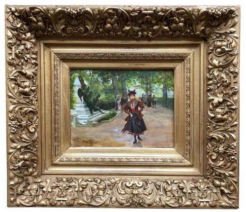 Parisienne in the park - Mariano ALONSO-PEREZ (1857-1930) - Paintings & Drawings Style