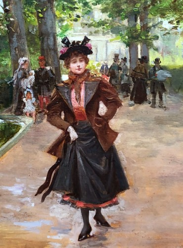 Paintings & Drawings  - Parisienne in the park - Mariano ALONSO-PEREZ (1857-1930)