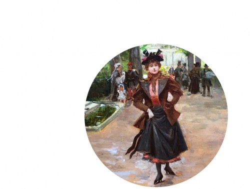 Parisienne in the park - Mariano ALONSO-PEREZ (1857-1930) -
