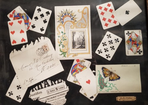 trompe l'oeil with cards dated 1902 - C SUTTERLIND