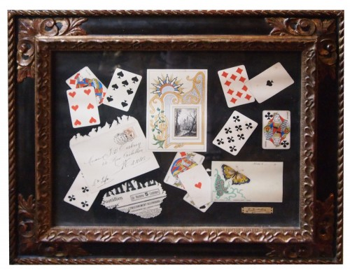 trompe l'oeil with cards dated 1902 - C SUTTERLIND    - Paintings & Drawings Style