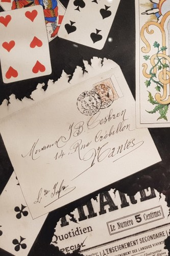 trompe l'oeil with cards dated 1902 - C SUTTERLIND    -
