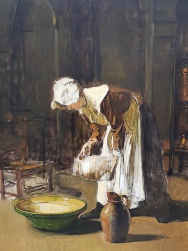 The milkmaid - Joseph Bail (1862-1921)