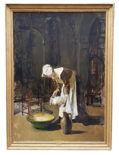 The milkmaid - Joseph Bail (1862-1921)  - Paintings & Drawings Style