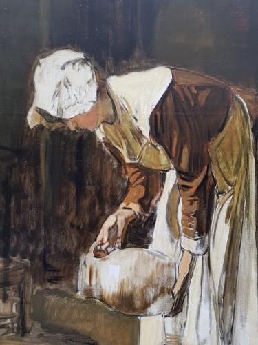Paintings & Drawings  - The milkmaid - Joseph Bail (1862-1921)