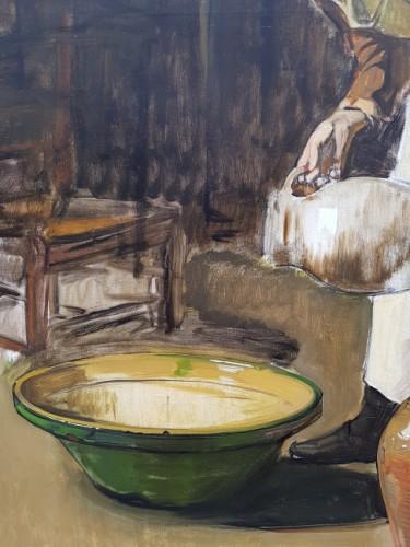 19th century - The milkmaid - Joseph Bail (1862-1921)