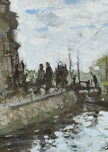 Paintings & Drawings  - Animated lock - Pierre Eugène MONTEZIN (1864-1946)