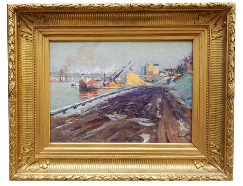 Barge on the Seine - Alexandre JACOB (1876-1972) - Paintings & Drawings Style