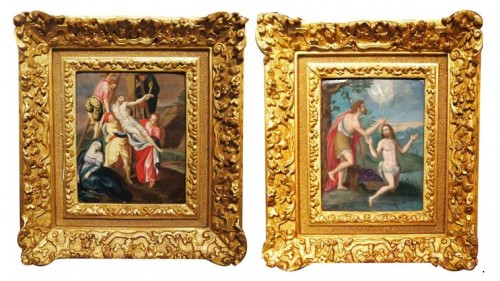 The Baptism and the Descent from the Cross of Christ  - Religious Antiques Style