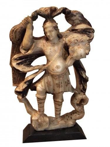 Saint Michael slaying the dragon, alabaster, 17th century
