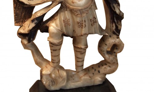 Religious Antiques  - Saint Michael slaying the dragon, alabaster, 17th century