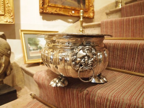 Large oval rafraichissoir in plated, 18th century  - Antique Silver Style