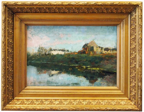 Houses by the river  - Alfred BASTIEN  (1873-1955)
