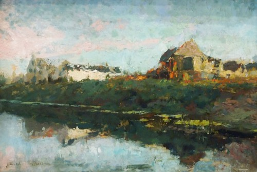 Houses by the river  - Alfred BASTIEN  (1873-1955) - Paintings & Drawings Style