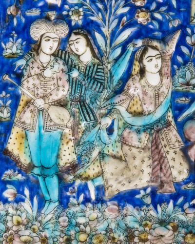 Porcelain & Faience  - Tile representing a gallant scene in a garden