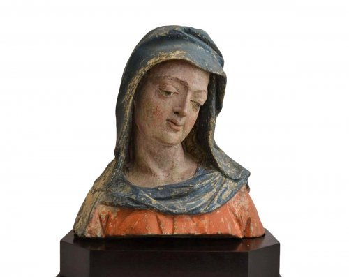 A  XVIth century stone  Bust of the Virgin