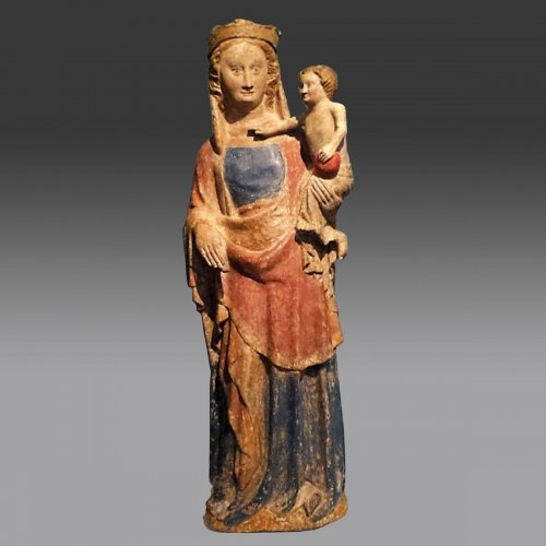 14th century Virgin and child - Sculpture Style Middle age