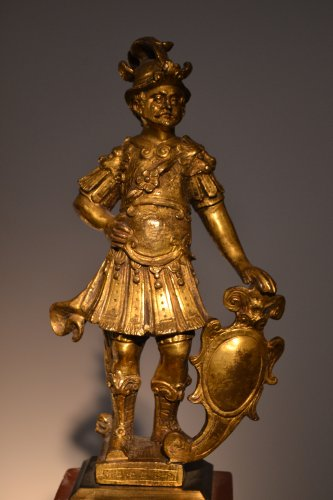Warrior in gilded bronze, late 16th century