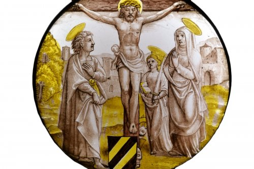 The Crucifixion - stained glass painting early 16th century