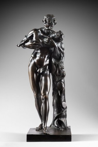 Grand bronze - Dionysos et Bacchus enfant - Sculpture Style Restauration - Charles X
