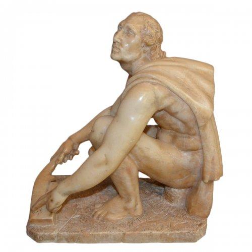 Pietro Aretino  - Alabaster sculpture mid 19th century