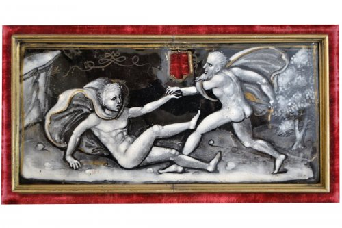 Plaque of casket in enamel, mid 16th century