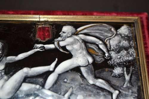 Plaque of casket in enamel, mid 16th century - Curiosities Style Renaissance