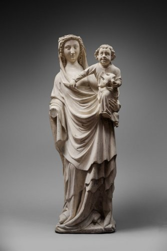 Virgin and Child, Seine-et-Marne (Former Champagne), Mid 14th - Sculpture Style Middle age