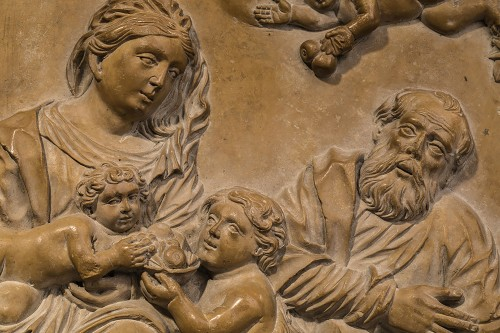 Holy Family in Stone of Solnhofen, Germany 17th century - Sculpture Style Louis XIV