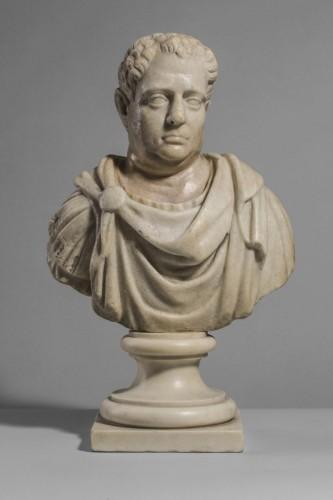 Sculpture  -  Marble Bust  Vitellius Imperator XVIIe