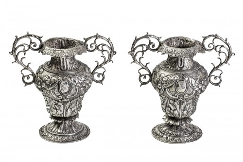Pair of 17th century silvered vase