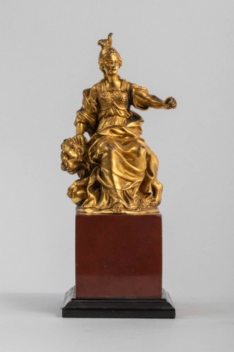 Sculpture  - Minerve on a lion, venice 17th century