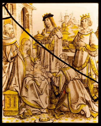 Gothique Staines glass - The Adoration of the magi, France circa 500