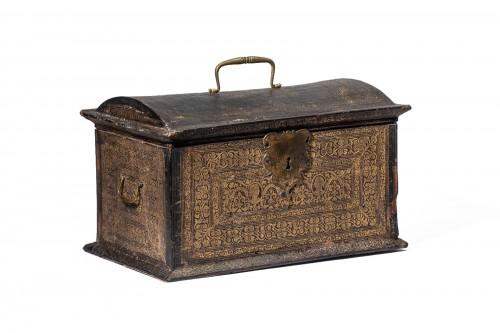 """lether gilded casket """"plantin"""" type"""