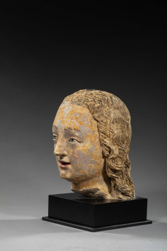 Sculpture  - Head of Woman, Loire Valley First half of the 16th century