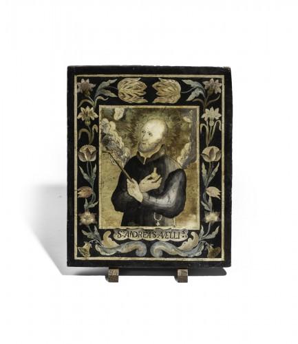 Saint Andrew Avellin Scagliola, Naples Late Seventeenth Century