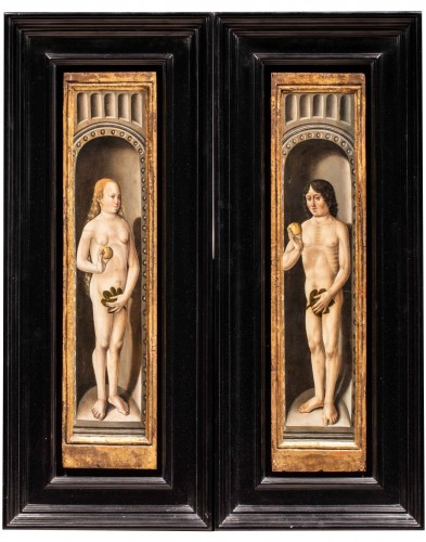 Adam and Eve painted wood, Germany early 16th century