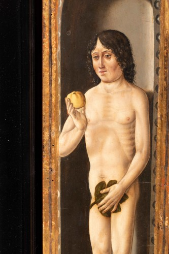 Paintings & Drawings  - Adam and Eve painted wood, Germany early 16th century