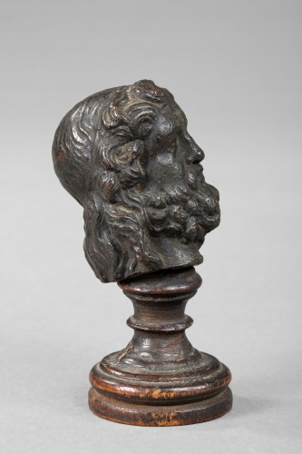 Man head in bronze, Antique or after the Antique - Italy - Sculpture Style Renaissance