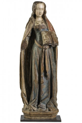 Gothic figure,  Saint with book - Champagne Second half of the 15th century