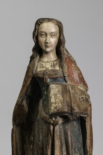 Gothic figure,  Saint with book - Champagne Second half of the 15th century - Sculpture Style Middle age